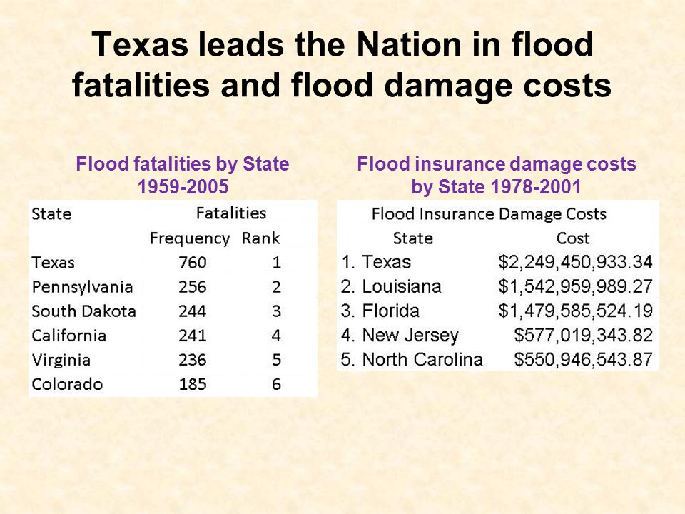 Texas leads the Nation in flood fatalities and flood damage costs Flood fatalities by State 1959-2005 Flood insurance damage costs by State 1978-2001