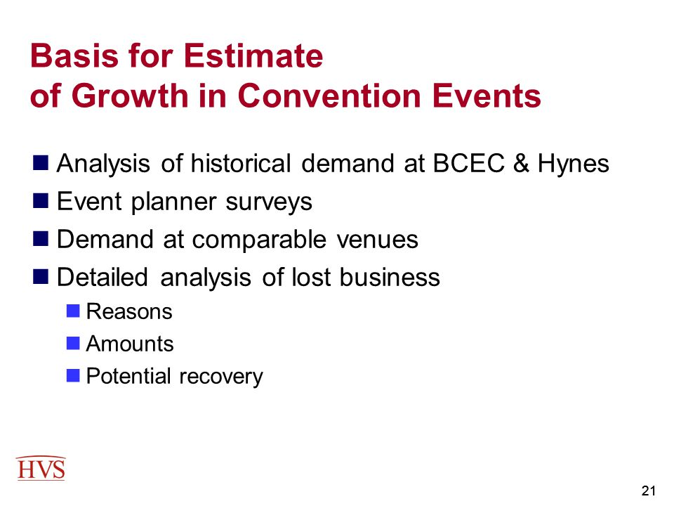 21 Basis for Estimate of Growth in Convention Events Analysis of historical demand at BCEC & Hynes Event planner surveys Demand at comparable venues D