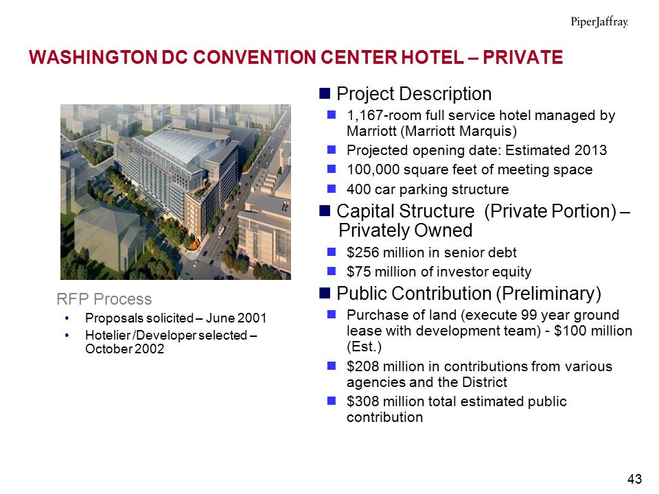 43 WASHINGTON DC CONVENTION CENTER HOTEL – PRIVATE Project Description 1,167-room full service hotel managed by Marriott (Marriott Marquis) Projected