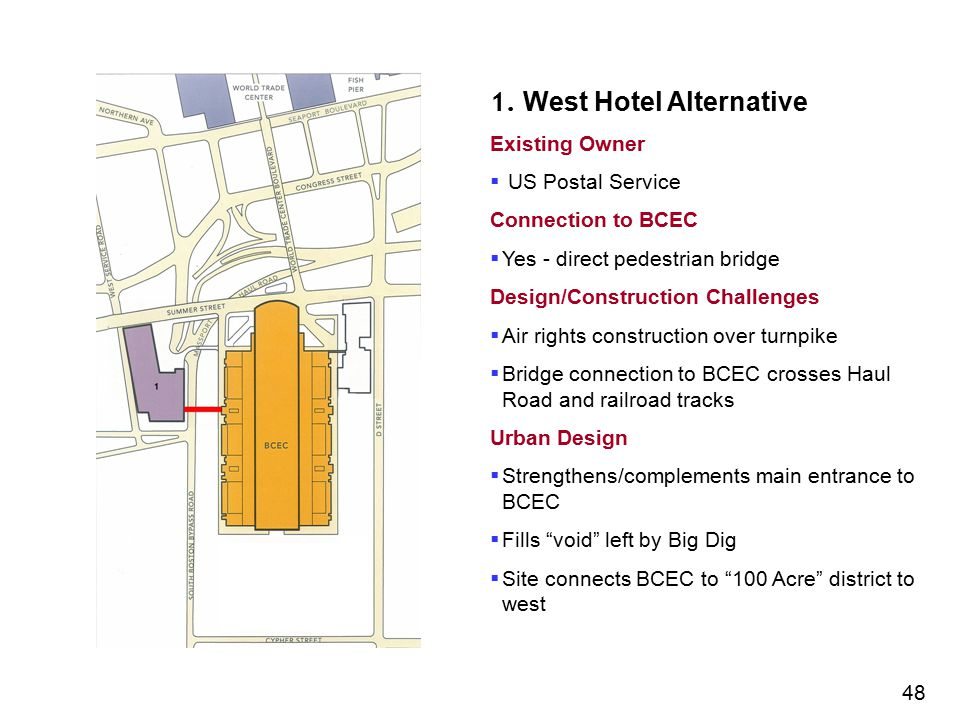1. West Hotel Alternative Existing Owner  US Postal Service Connection to BCEC  Yes - direct pedestrian bridge Design/Construction Challenges  Air