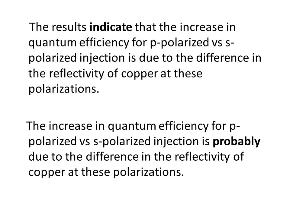 The results indicate that the increase in quantum efficiency for p-polarized vs s- polarized injection is due to the difference in the reflectivity of
