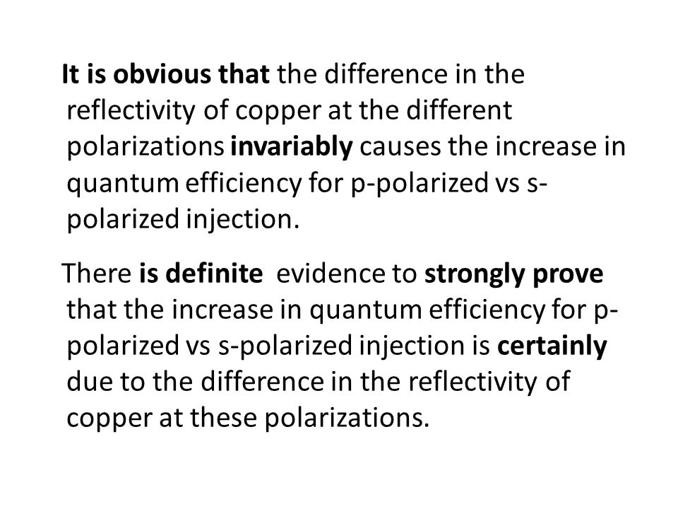 It is obvious that the difference in the reflectivity of copper at the different polarizations invariably causes the increase in quantum efficiency fo