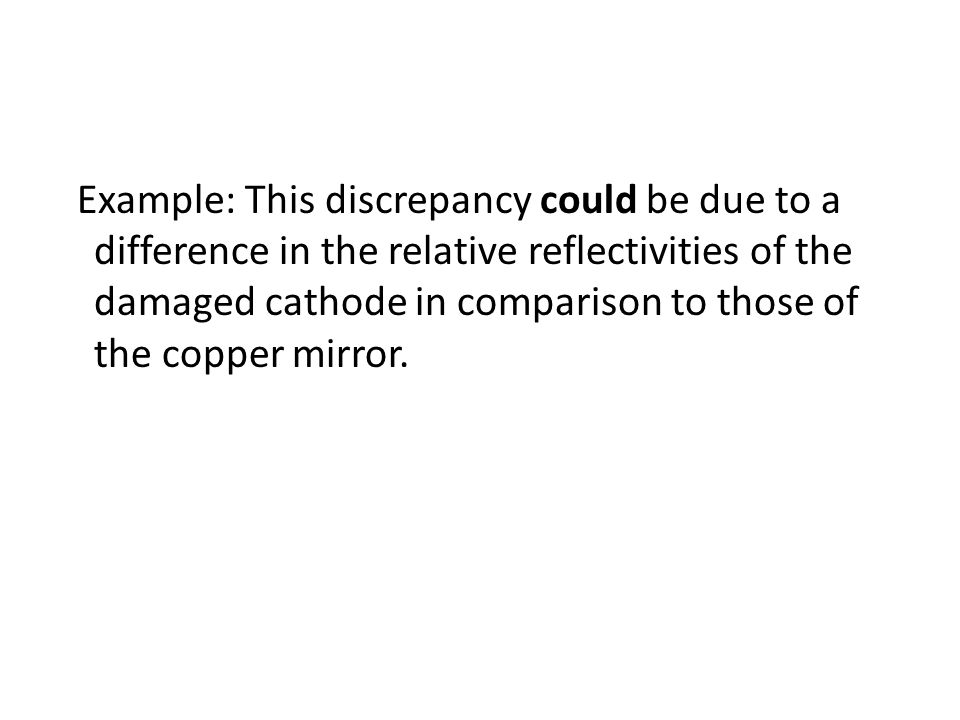 Example: This discrepancy could be due to a difference in the relative reflectivities of the damaged cathode in comparison to those of the copper mirr