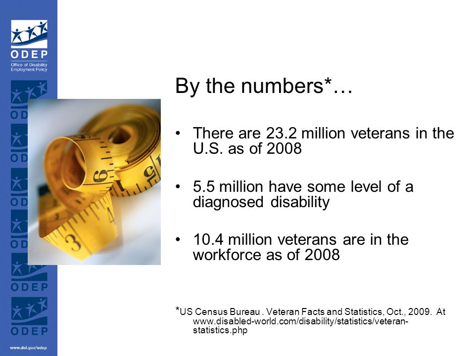 By the numbers*… There are 23.2 million veterans in the U.S.