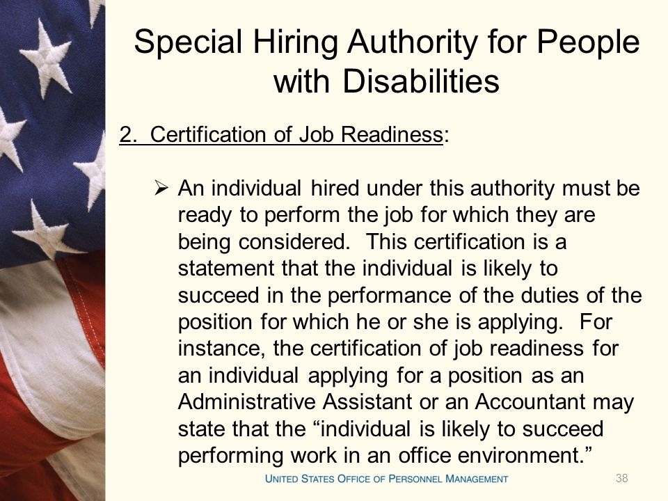 Special Hiring Authority for People with Disabilities 2.