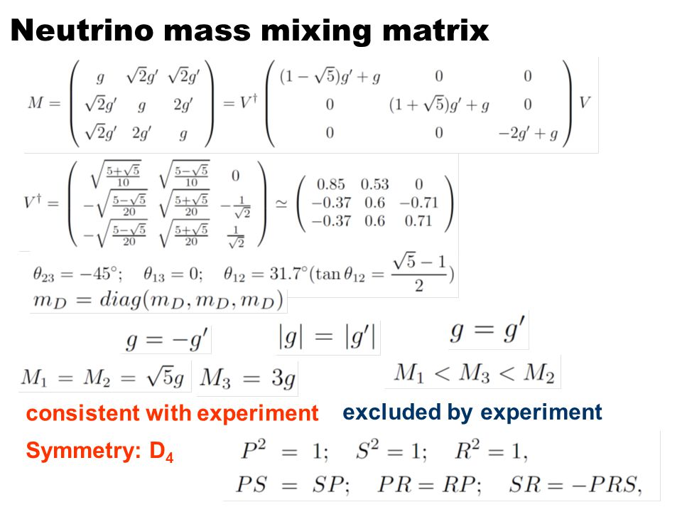 Neutrino mass mixing matrix consistent with experiment excluded by experiment Symmetry: D 4