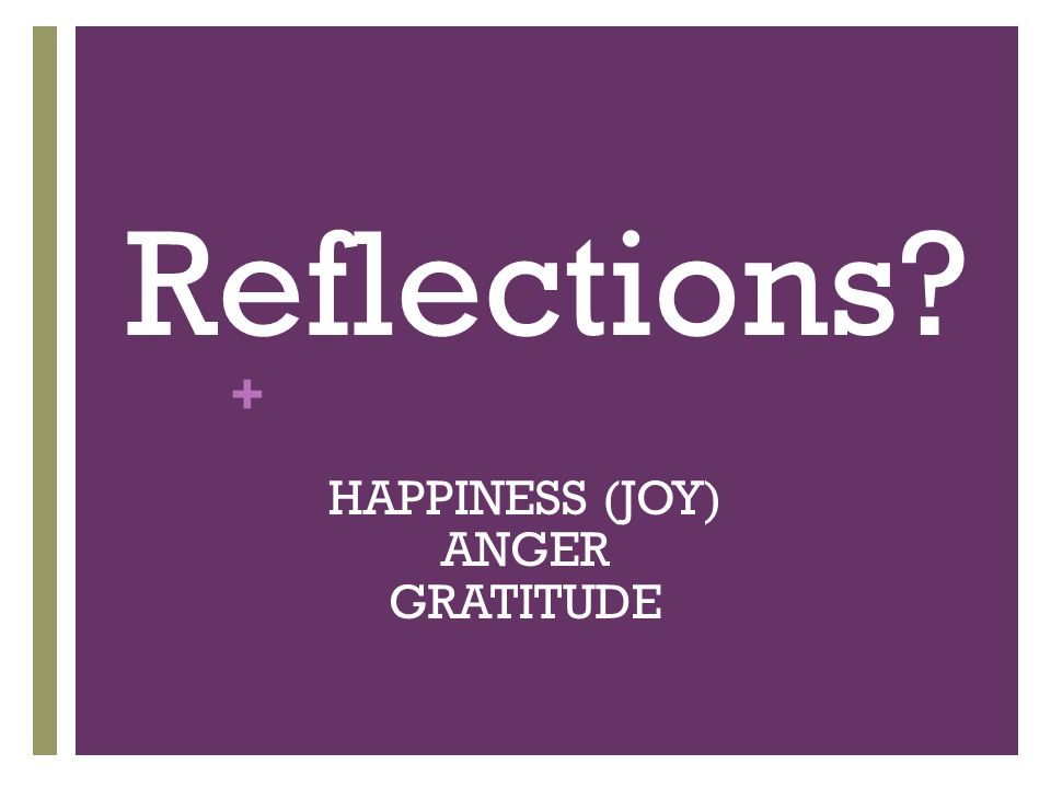 + Reflections? HAPPINESS (JOY) ANGER GRATITUDE