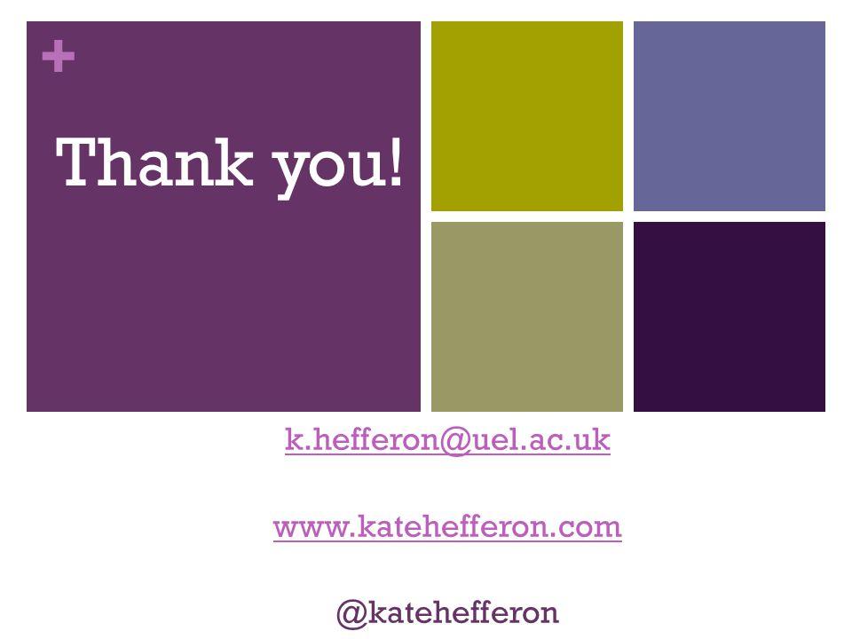 + k.hefferon@uel.ac.uk www.katehefferon.com @katehefferon Thank you!