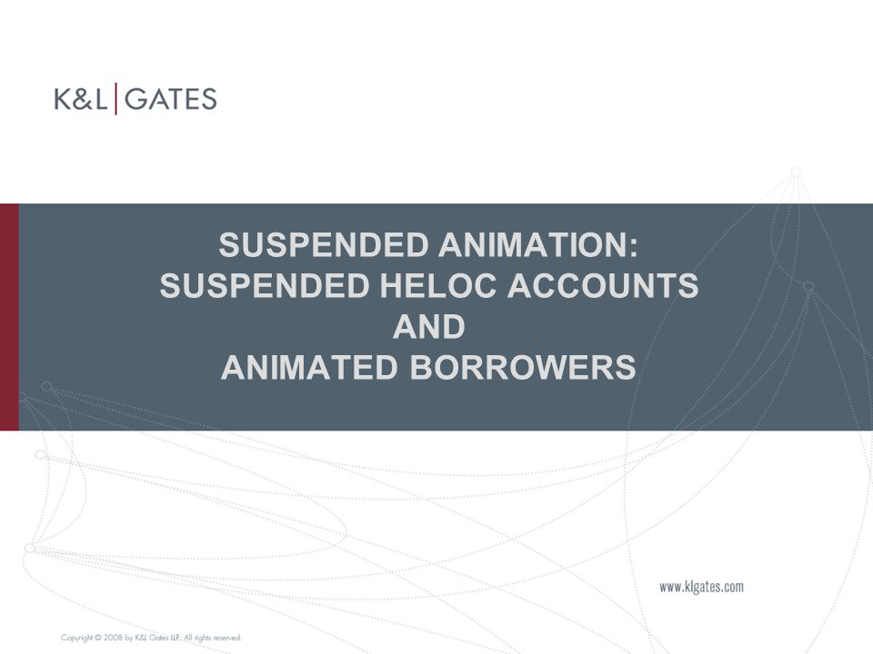 SUSPENDED ANIMATION: SUSPENDED HELOC ACCOUNTS AND ANIMATED BORROWERS