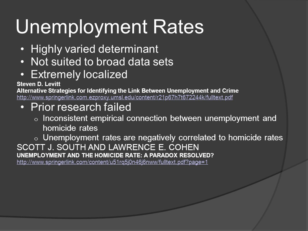 Unemployment Rates Highly varied determinant Not suited to broad data sets Extremely localized Steven D.