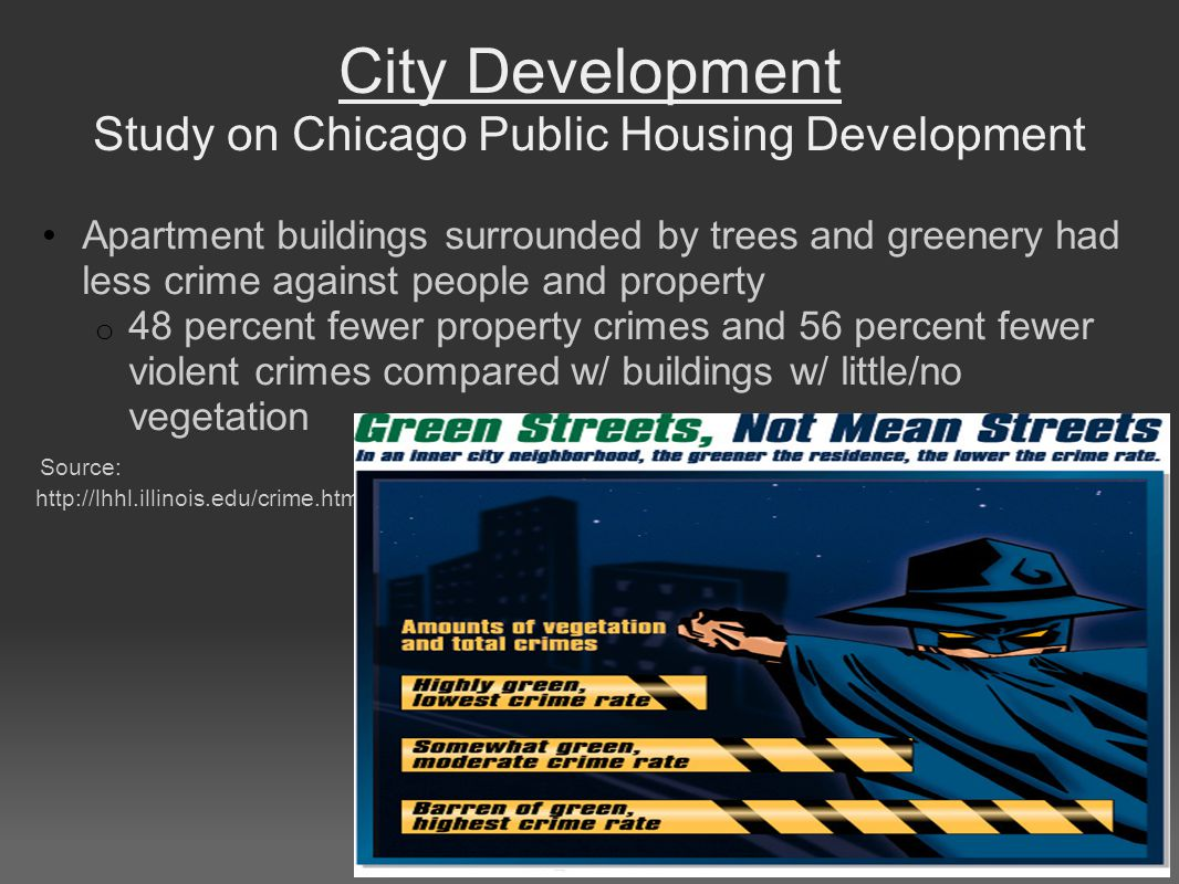 City Development Study on Chicago Public Housing Development Apartment buildings surrounded by trees and greenery had less crime against people and property o 48 percent fewer property crimes and 56 percent fewer violent crimes compared w/ buildings w/ little/no vegetation Source: http://lhhl.illinois.edu/crime.htm