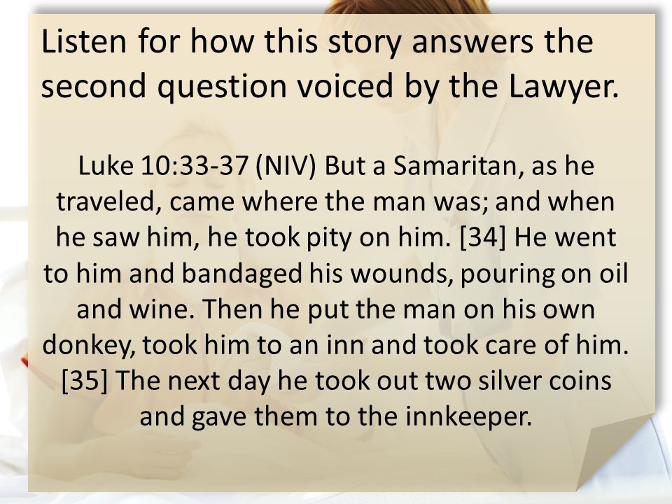 Listen for how this story answers the second question voiced by the Lawyer.