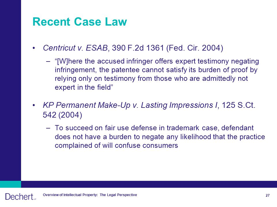 Overview of Intellectual Property: The Legal Perspective 27 Recent Case Law Centricut v.