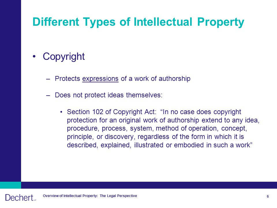 Overview of Intellectual Property: The Legal Perspective 6 Different Types of Intellectual Property Copyright –Protects expressions of a work of authorship –Does not protect ideas themselves: Section 102 of Copyright Act: In no case does copyright protection for an original work of authorship extend to any idea, procedure, process, system, method of operation, concept, principle, or discovery, regardless of the form in which it is described, explained, illustrated or embodied in such a work