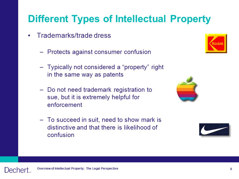 Overview of Intellectual Property: The Legal Perspective 8 Different Types of Intellectual Property Trademarks/trade dress –Protects against consumer confusion –Typically not considered a property right in the same way as patents –Do not need trademark registration to sue, but it is extremely helpful for enforcement –To succeed in suit, need to show mark is distinctive and that there is likelihood of confusion