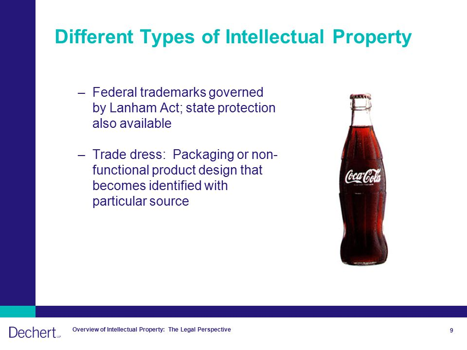 Overview of Intellectual Property: The Legal Perspective 9 Different Types of Intellectual Property –Federal trademarks governed by Lanham Act; state protection also available –Trade dress: Packaging or non- functional product design that becomes identified with particular source