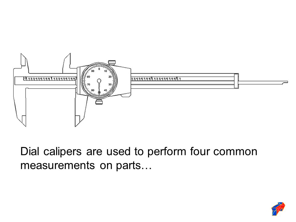 Dial calipers are used to perform four common measurements on parts…