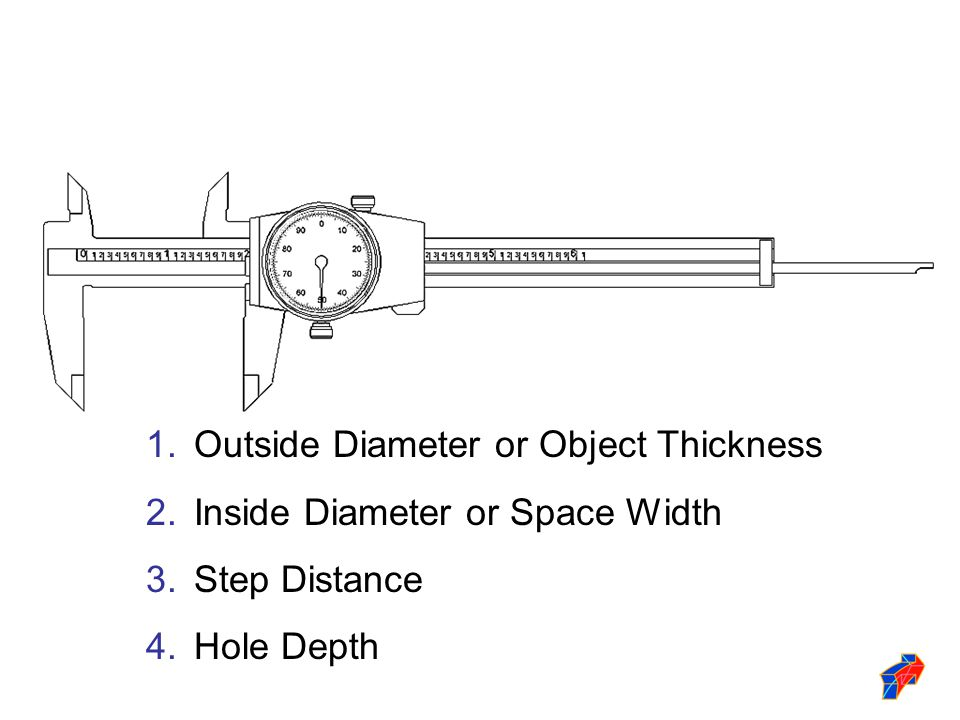 1.Outside Diameter or Object Thickness 2.Inside Diameter or Space Width 3.Step Distance 4.Hole Depth