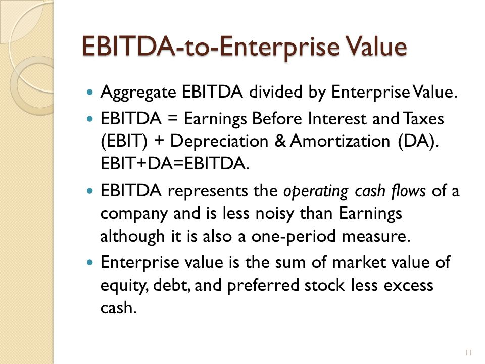 EBITDA-to-Enterprise Value Aggregate EBITDA divided by Enterprise Value.