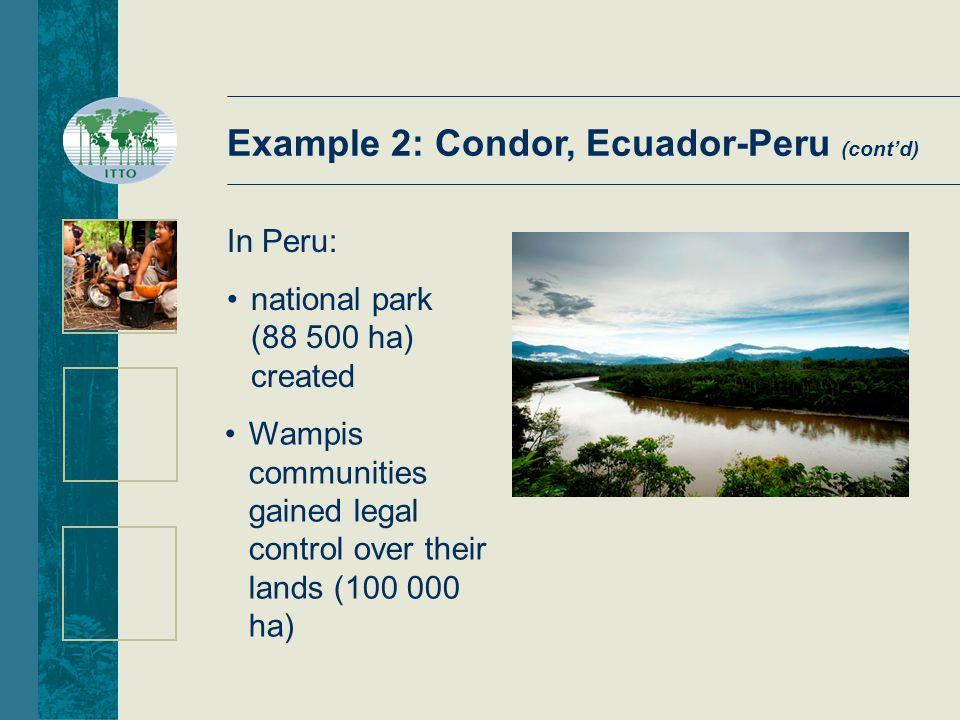 In Peru: national park (88 500 ha) created Wampis communities gained legal control over their lands (100 000 ha) Example 2: Condor, Ecuador-Peru (cont'd)