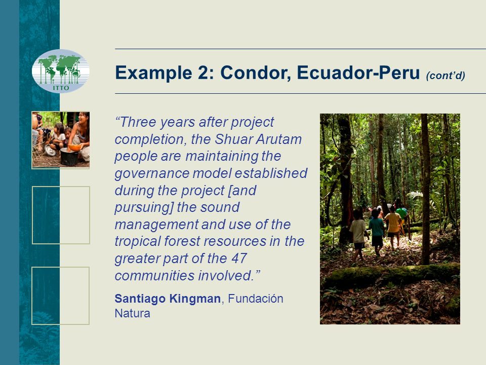 Three years after project completion, the Shuar Arutam people are maintaining the governance model established during the project [and pursuing] the sound management and use of the tropical forest resources in the greater part of the 47 communities involved. Santiago Kingman, Fundación Natura