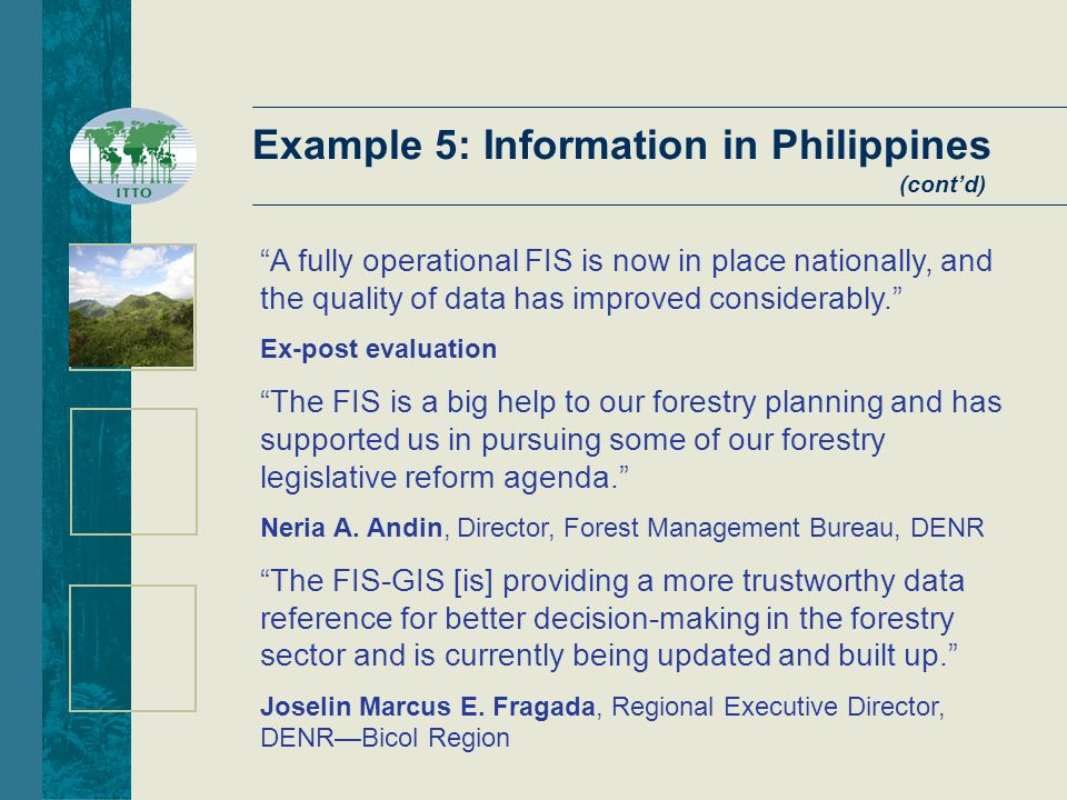 Example 5: Information in Philippines (cont'd) A fully operational FIS is now in place nationally, and the quality of data has improved considerably. Ex-post evaluation The FIS is a big help to our forestry planning and has supported us in pursuing some of our forestry legislative reform agenda. Neria A.