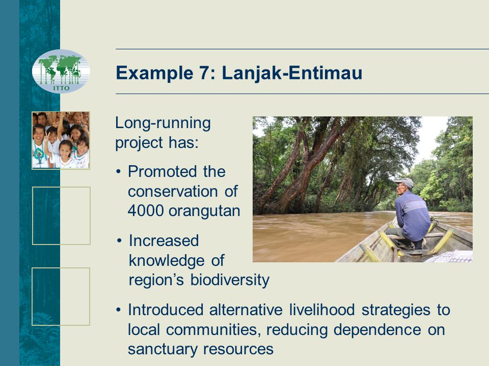 Example 7: Lanjak-Entimau Long-running project has: Promoted the conservation of 4000 orangutan Introduced alternative livelihood strategies to local communities, reducing dependence on sanctuary resources Increased knowledge of region's biodiversity