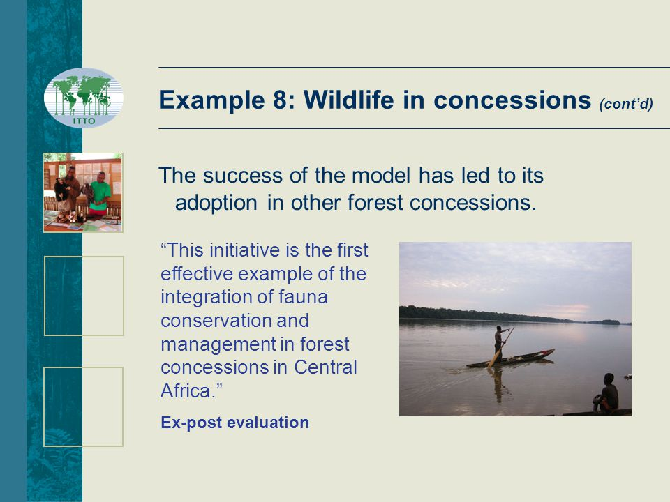 This initiative is the first effective example of the integration of fauna conservation and management in forest concessions in Central Africa. Ex-post evaluation The success of the model has led to its adoption in other forest concessions.