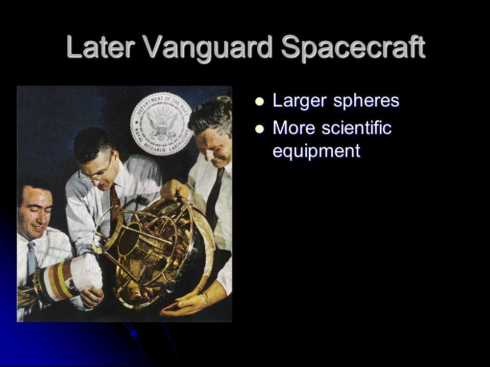Later Vanguard Spacecraft Larger spheres Larger spheres More scientific equipment More scientific equipment