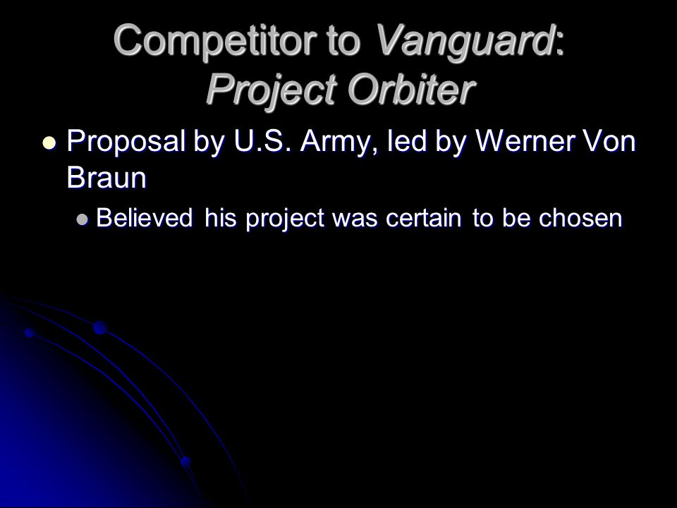 Competitor to Vanguard: Project Orbiter Proposal by U.S.