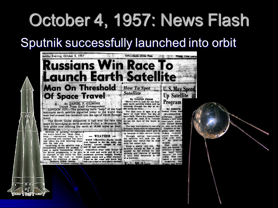 October 4, 1957: News Flash Sputnik successfully launched into orbit