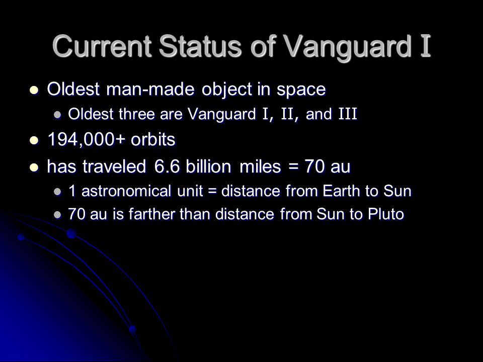 Current Status of Vanguard I Oldest man-made object in space Oldest man-made object in space Oldest three are Vanguard I, II, and III Oldest three are Vanguard I, II, and III 194,000+ orbits 194,000+ orbits has traveled 6.6 billion miles = 70 au has traveled 6.6 billion miles = 70 au 1 astronomical unit = distance from Earth to Sun 1 astronomical unit = distance from Earth to Sun 70 au is farther than distance from Sun to Pluto 70 au is farther than distance from Sun to Pluto