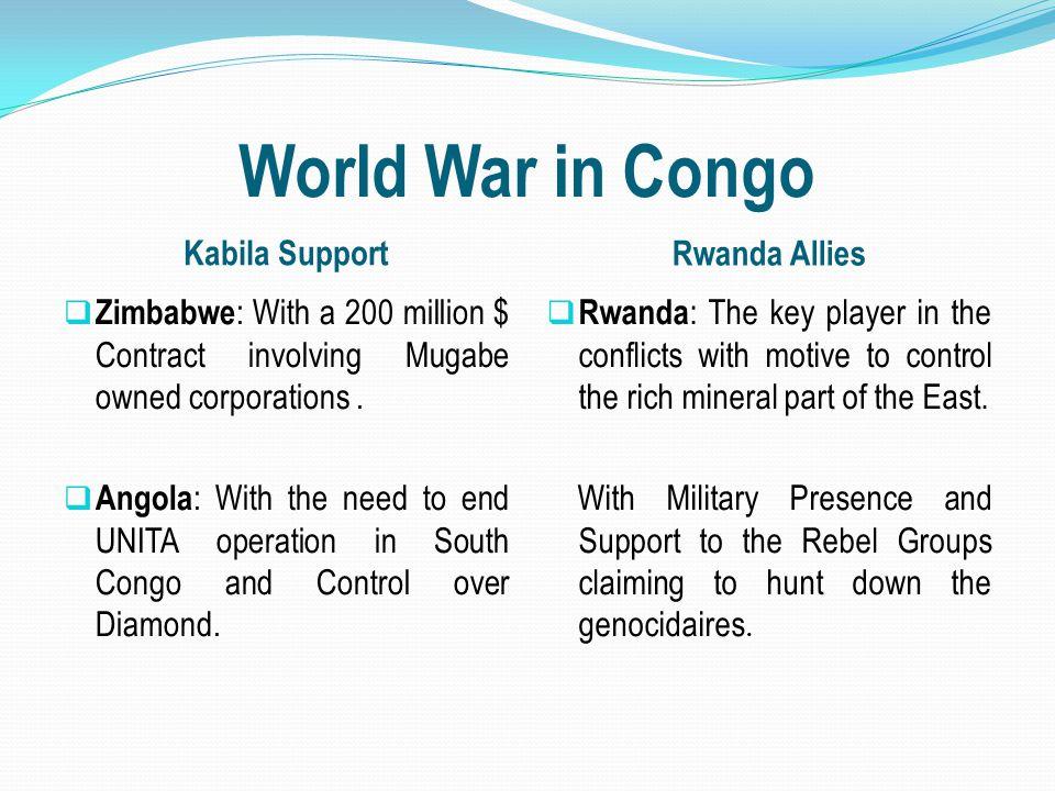 World War in Congo Kabila Support Rwanda Allies  Zimbabwe : With a 200 million $ Contract involving Mugabe owned corporations.  Angola : With the ne