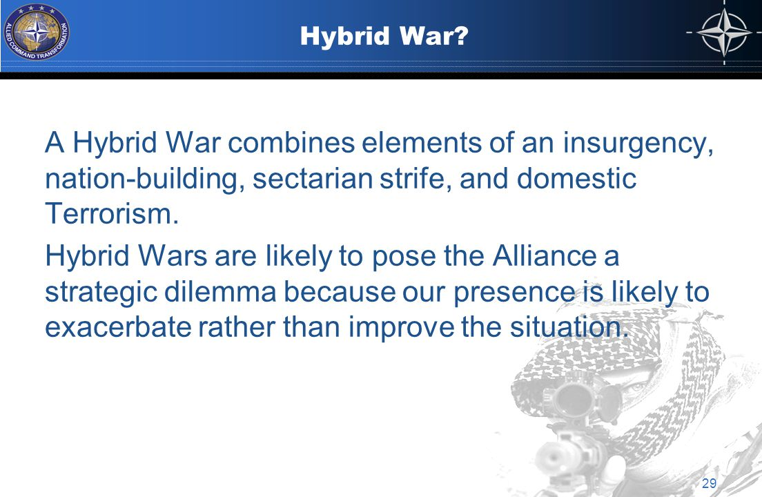 Hybrid War? A Hybrid War combines elements of an insurgency, nation-building, sectarian strife, and domestic Terrorism. Hybrid Wars are likely to pose