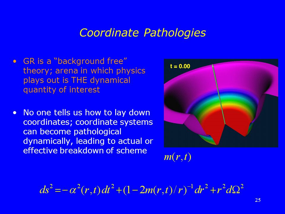 "25 Coordinate Pathologies GR is a ""background free"" theory; arena in which physics plays out is THE dynamical quantity of interest No one tells us how"
