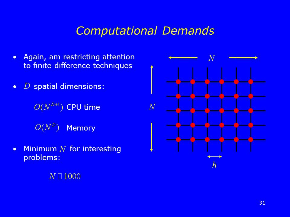 31 Computational Demands Again, am restricting attention to finite difference techniques spatial dimensions: CPU time Memory Minimum for interesting p