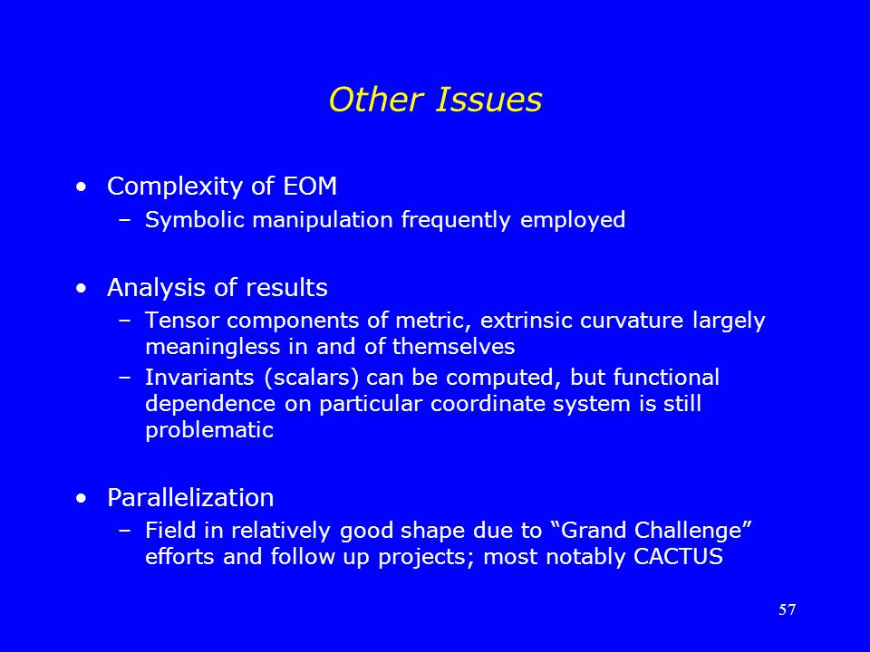 57 Other Issues Complexity of EOM –Symbolic manipulation frequently employed Analysis of results –Tensor components of metric, extrinsic curvature lar