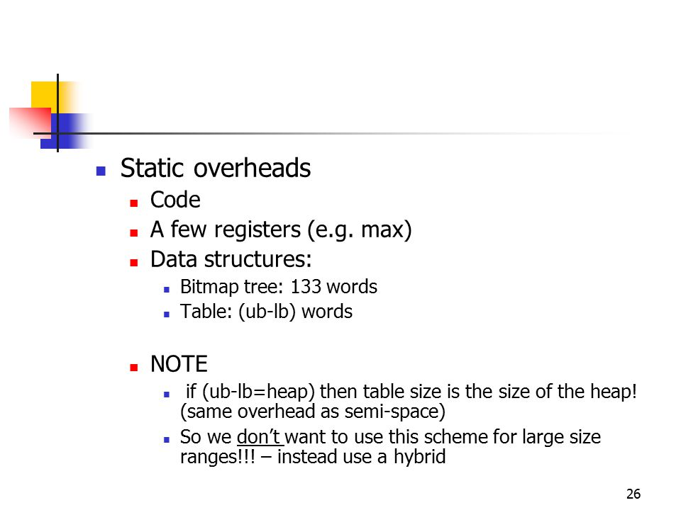 26 Static overheads Code A few registers (e.g. max) Data structures: Bitmap tree: 133 words Table: (ub-lb) words NOTE if (ub-lb=heap) then table size