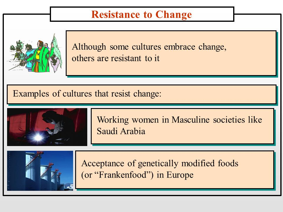 Resistance to Change Acceptance of genetically modified foods (or Frankenfood ) in Europe Acceptance of genetically modified foods (or Frankenfood ) in Europe Working women in Masculine societies like Saudi Arabia Working women in Masculine societies like Saudi Arabia Although some cultures embrace change, others are resistant to it Although some cultures embrace change, others are resistant to it Examples of cultures that resist change: