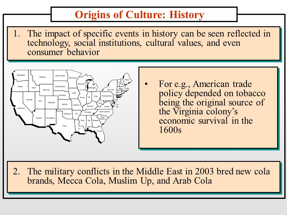 Origins of Culture: History 1.The impact of specific events in history can be seen reflected in technology, social institutions, cultural values, and even consumer behavior 2.The military conflicts in the Middle East in 2003 bred new cola brands, Mecca Cola, Muslim Up, and Arab Cola For e.g., American trade policy depended on tobacco being the original source of the Virginia colony's economic survival in the 1600s