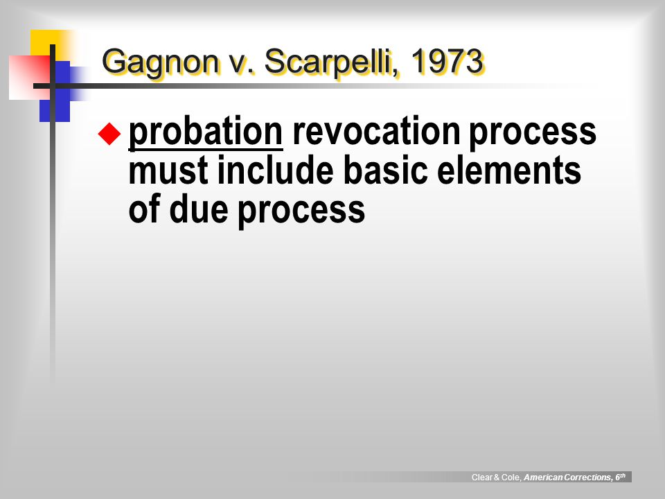 Clear & Cole, American Corrections, 6 th Gagnon v. Scarpelli, 1973  probation revocation process must include basic elements of due process