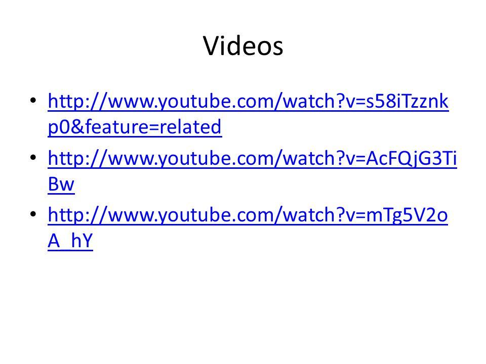 Videos http://www.youtube.com/watch v=s58iTzznk p0&feature=related http://www.youtube.com/watch v=s58iTzznk p0&feature=related http://www.youtube.com/watch v=AcFQjG3Ti Bw http://www.youtube.com/watch v=AcFQjG3Ti Bw http://www.youtube.com/watch v=mTg5V2o A_hY http://www.youtube.com/watch v=mTg5V2o A_hY