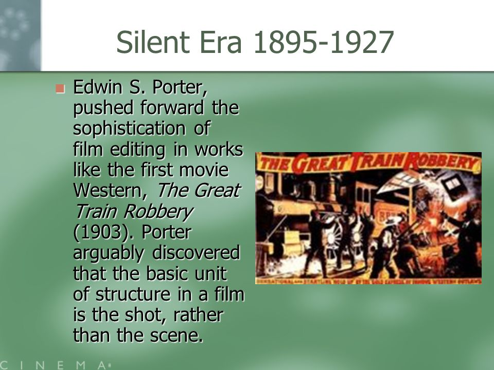 The Great Train Robbery (1903) Western filmed in New Jersey.