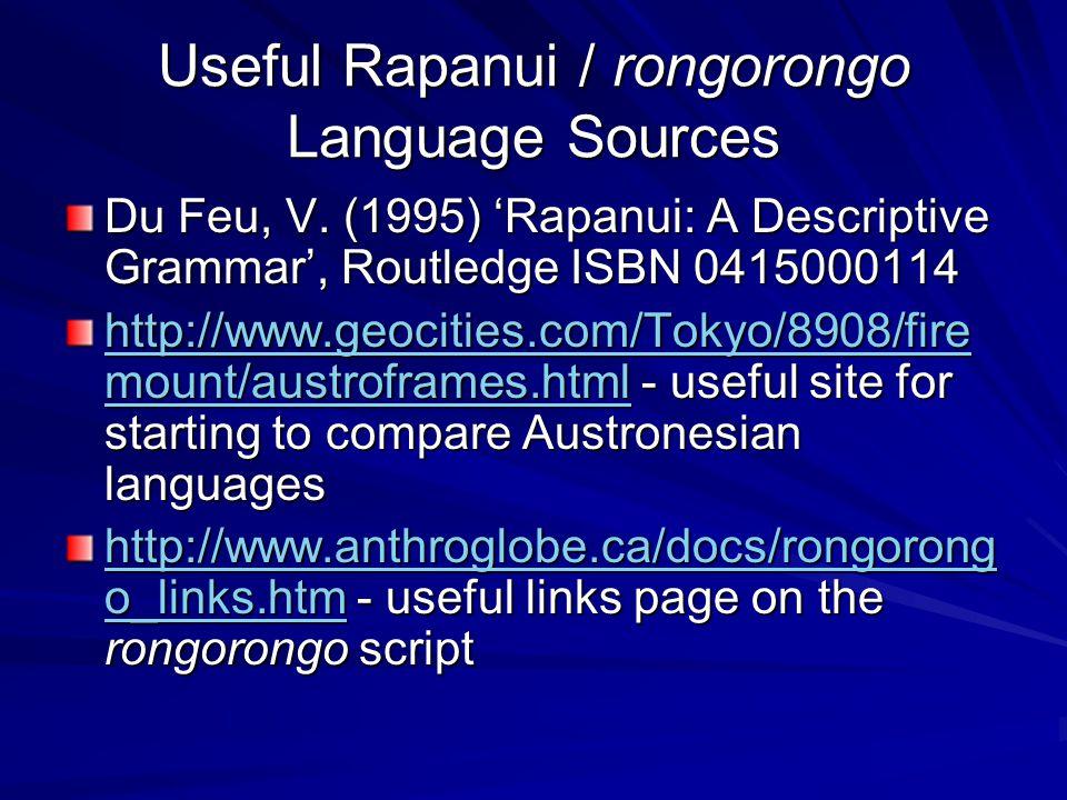 Useful Rapanui / rongorongo Language Sources Du Feu, V.