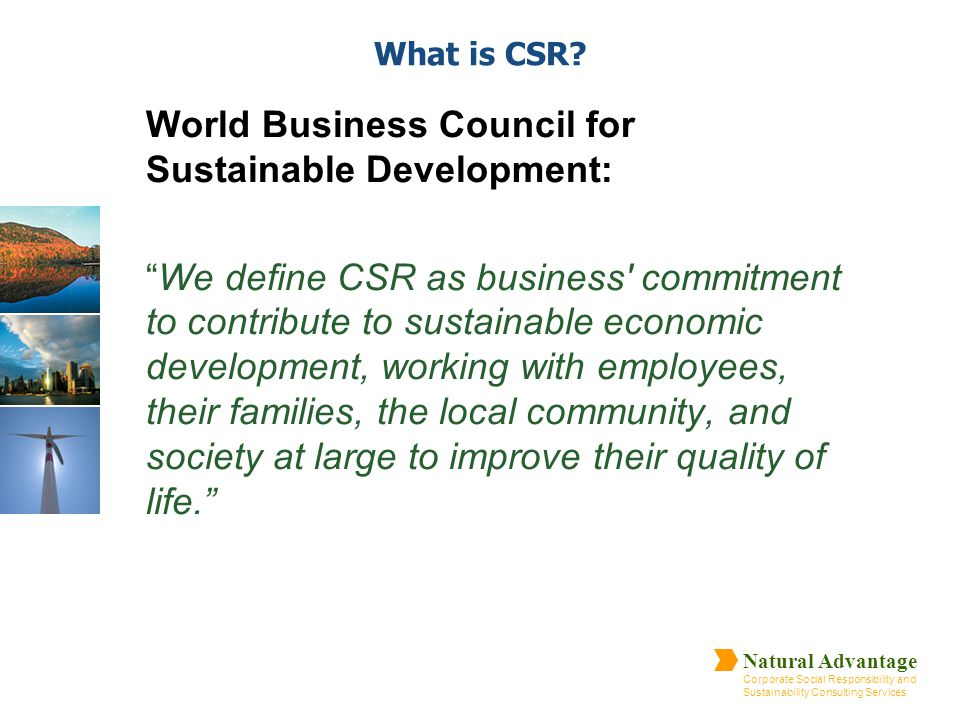 Natural Advantage Corporate Social Responsibility and Sustainability Consulting Services What is CSR? World Business Council for Sustainable Developme