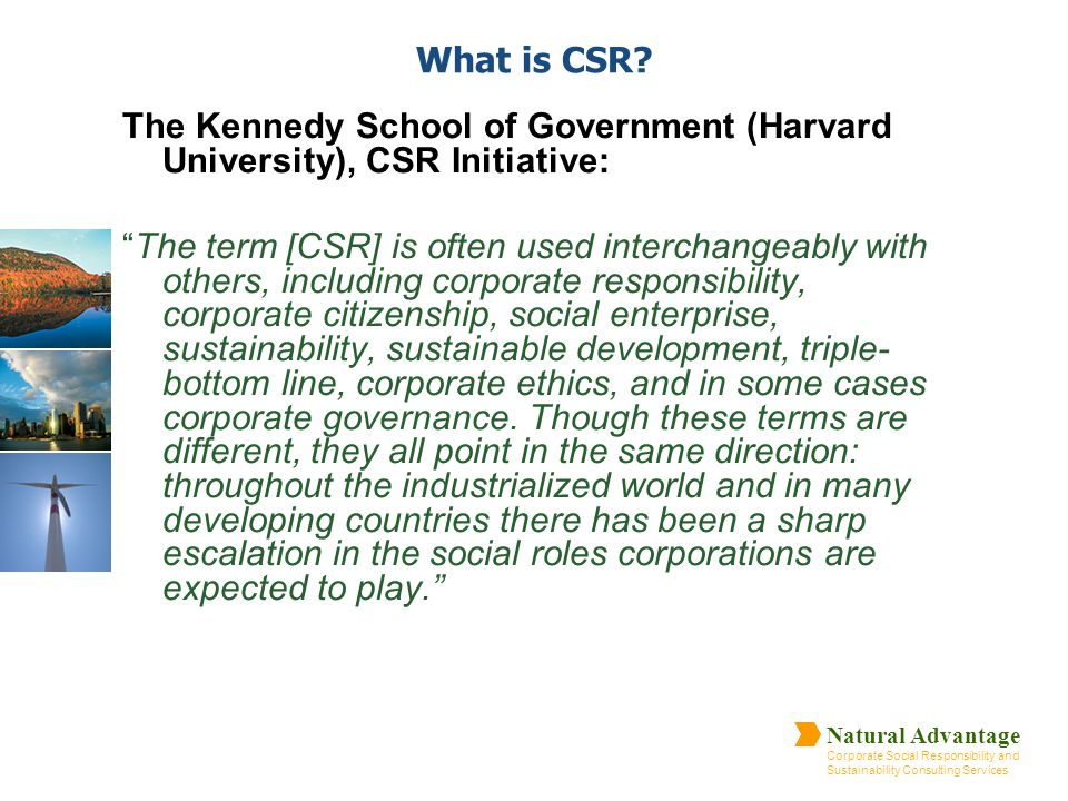 Natural Advantage Corporate Social Responsibility and Sustainability Consulting Services What is CSR? The Kennedy School of Government (Harvard Univer