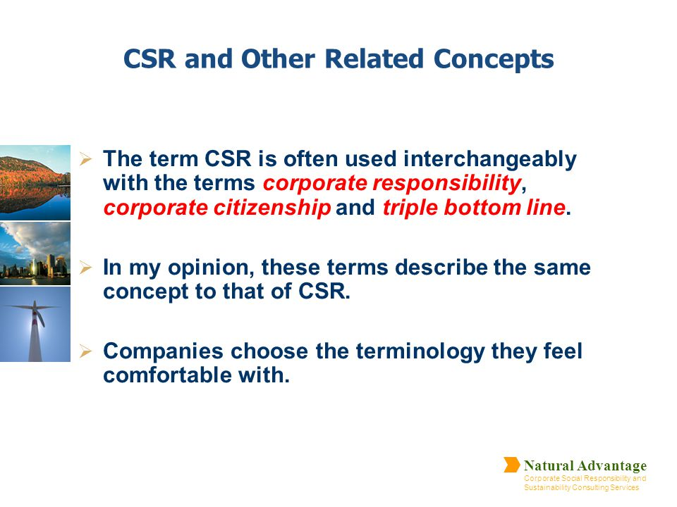 Natural Advantage Corporate Social Responsibility and Sustainability Consulting Services CSR and Other Related Concepts  The term CSR is often used i