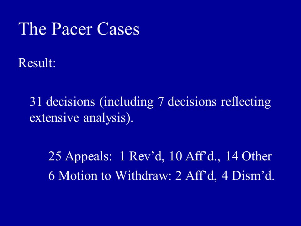 The Pacer Cases Result: 31 decisions (including 7 decisions reflecting extensive analysis).