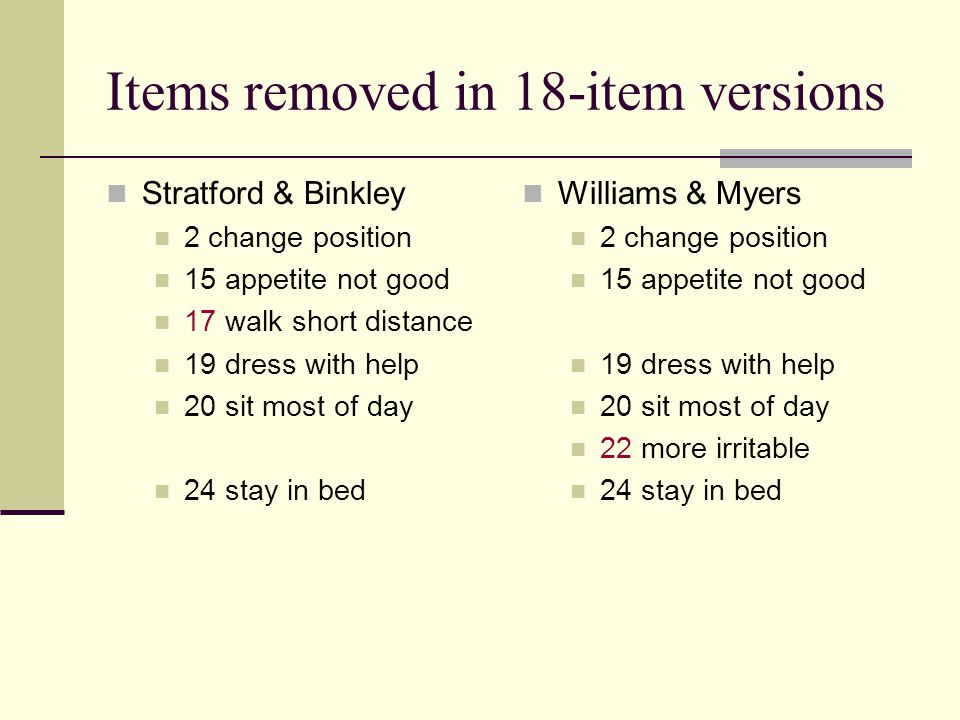 Items removed in 18-item versions Stratford & Binkley 2 change position 15 appetite not good 17 walk short distance 19 dress with help 20 sit most of day 24 stay in bed Williams & Myers 2 change position 15 appetite not good 19 dress with help 20 sit most of day 22 more irritable 24 stay in bed