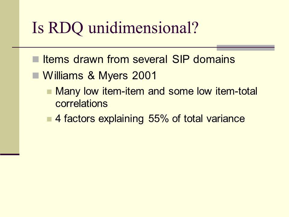 Is RDQ unidimensional.